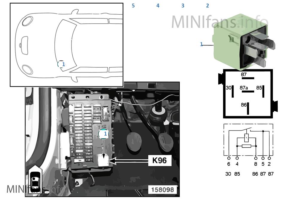 Relais Kraftstoffpumpe K96   Mini MINI R53 Cooper S W11 Europa