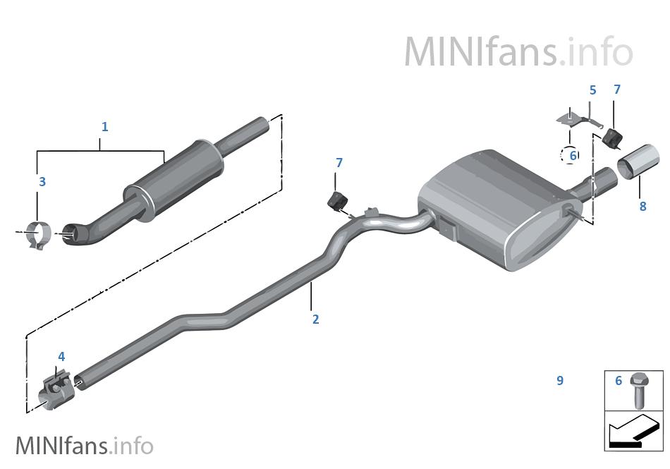 Exhaust System Rear Mini Mini Clubman F54 Cooper B36 Europe