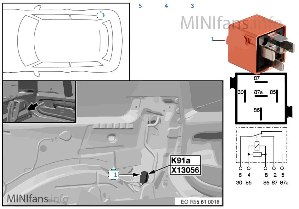 Relais Heckscheibenwischer 2 K91a   Mini MINI Clubman R55 Cooper N12 ...