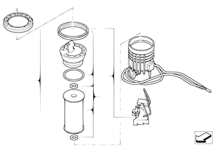 Fuel filter with fuel level sensor right