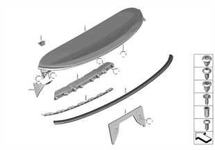Trunk lid, mounting parts